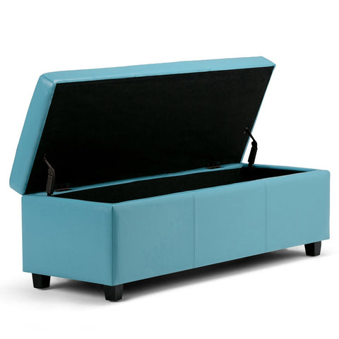 Blue PU Faux Leather | Avalon Faux Leather Storage Ottoman