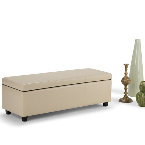 Satin Cream PU Faux Leather | Avalon Faux Leather Storage Ottoman