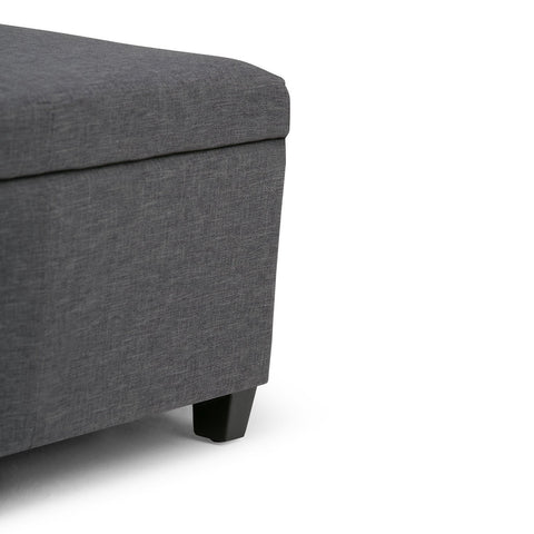 Slate Grey Linen Look Polyester Fabric | Avalon Faux Leather Storage Ottoman