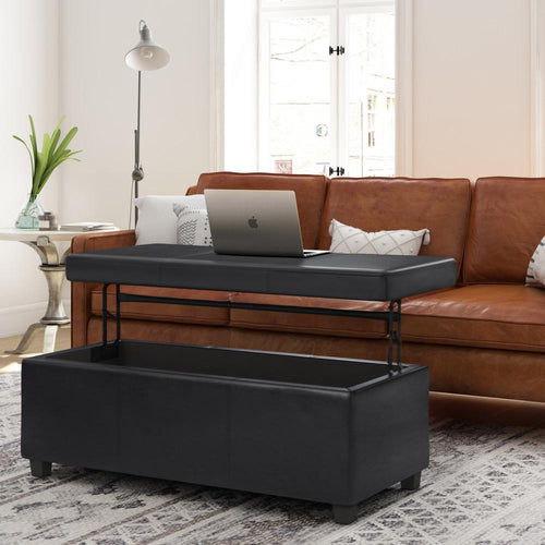 Midnight Black | Avalon Lift Top Rectangular Storage Ottoman