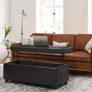 Tanners Brown | Avalon Lift Top Rectangular Storage Ottoman