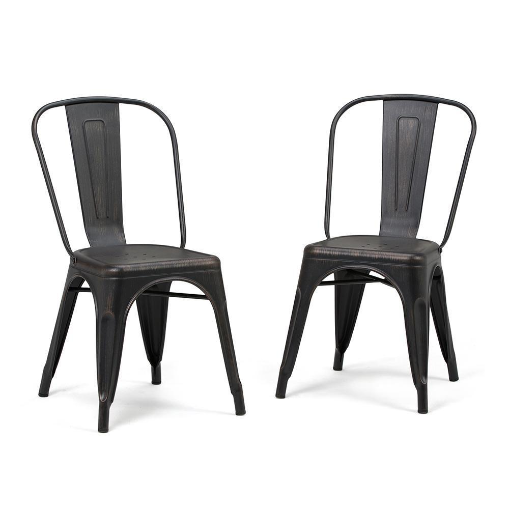 Distressed Black and Copper  | Fletcher Metal Dining Side Chair