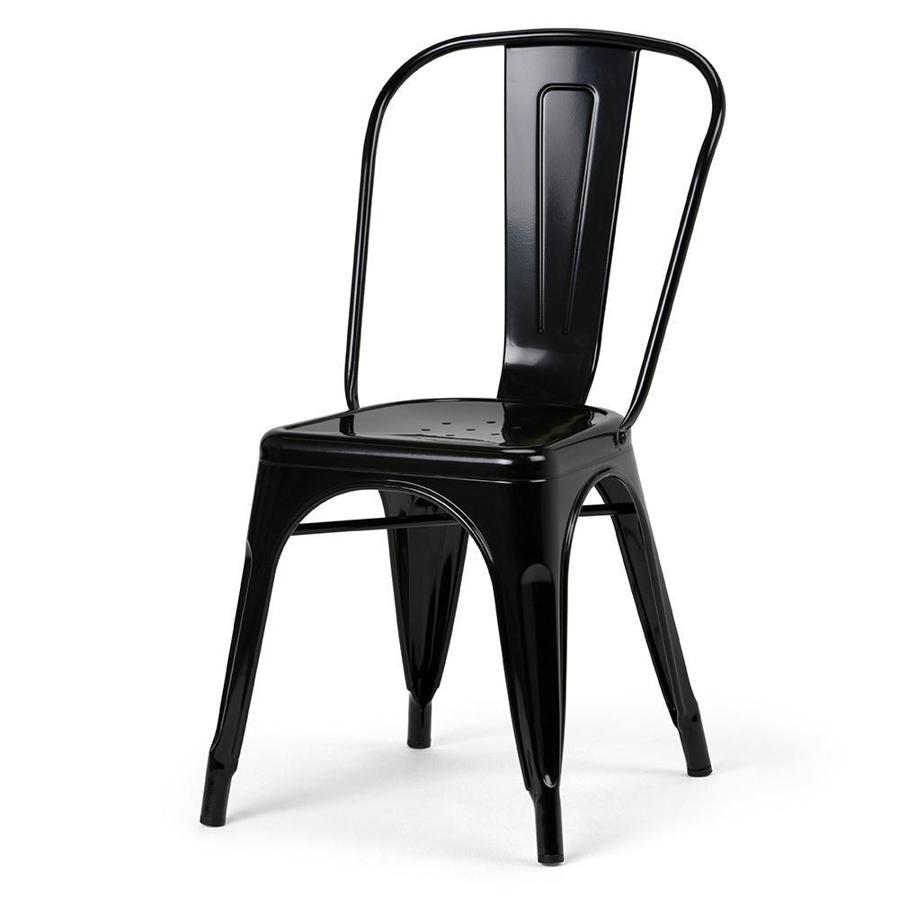 Fletcher Metal Dining Side Chair in Distressed Black with ...