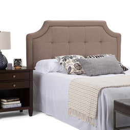 Fiona Queen Tufted Headboard in Mocha Linen Look Fabric