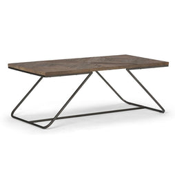 Hailey 48 x 24 inch Coffee Table in Distressed Java Brown Wood Inlay
