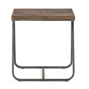 Hailey 20 inch Square End Side Table in Distressed Java Brown Wood Inlay