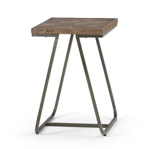 Hailey 14 x 20 inch Narrow End Side Table in Distressed Java Brown Wood Inlay