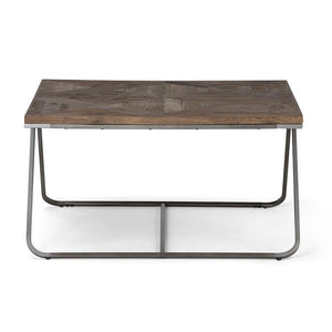 Hailey 34 inch Square Coffee Table in Distressed Java Brown Wood Inlay