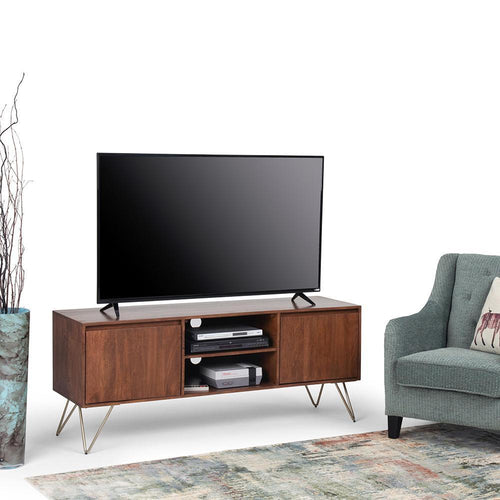Umber Brown Stain | Hunter 60 x 18 inch TV Media Stand in Natural Mango Wood for TVs up to 66 inches