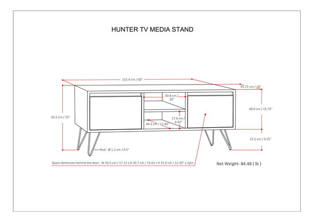 Load image into Gallery viewer, Umber Brown Stain | Hunter 60 x 18 inch TV Media Stand in Natural Mango Wood for TVs up to 66 inches