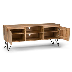 Natural | Hunter 60 x 18 inch TV Media Stand in Natural Mango Wood for TVs up to 66 inches