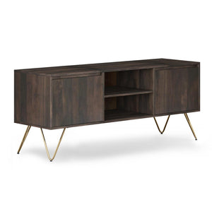 Ebony | Hunter 60 x 18 inch TV Media Stand in Natural Mango Wood for TVs up to 66 inches