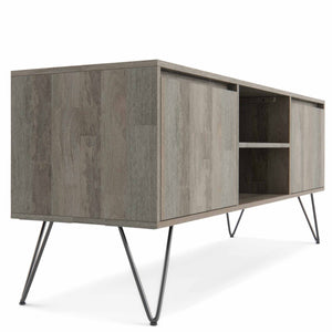 Grey | Hunter 60 x 18 inch TV Media Stand in Natural Mango Wood for TVs up to 66 inches