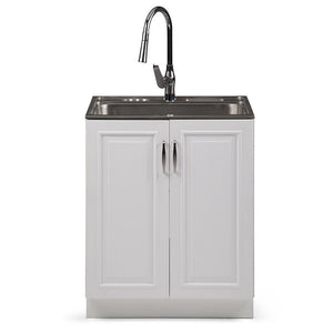 White | Darwin 28 inch Laundry Cabinet with Pull-out Faucet and Stainless Steel Sink in White