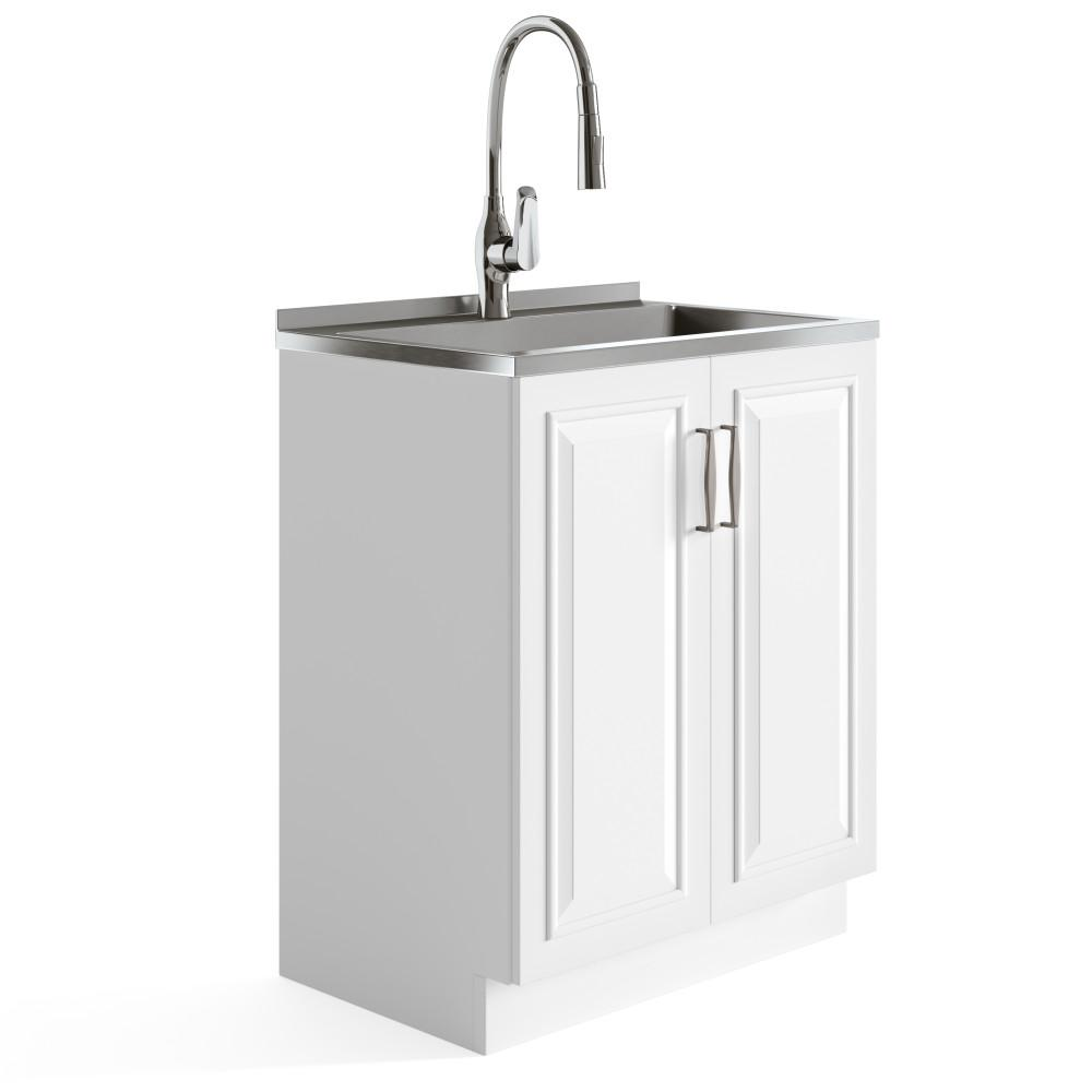 Pure White | Darwin 28 inch Laundry Cabinet with Pull-out Faucet and Stainless Steel Sink in White