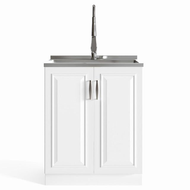 Load image into Gallery viewer, Pure White | Darwin 28 inch Laundry Cabinet with Pull-out Faucet and Stainless Steel Sink in White
