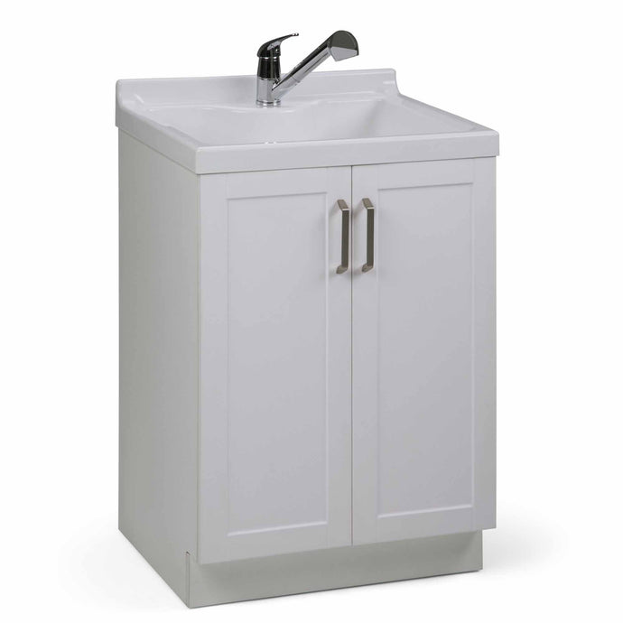 Pure White | Kyle 24 inch Laundry Cabinet with Pull-out Faucet and ABS Sink