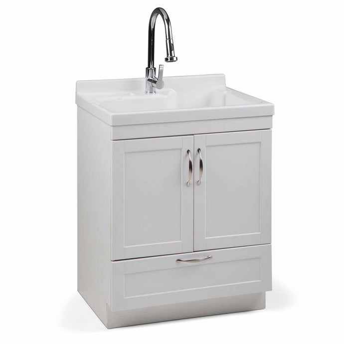 Pure White | Maile 28 inch Laundry Cabinet with Pull-out Faucet and ABS Sink