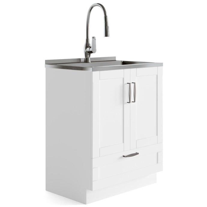 Pure White | Reed 28 inch Laundry Cabinet with Pull-out Faucet and Stainless Steel Sink