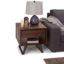Load image into Gallery viewer, Lowry Solid Acacia End Table in Distressed Charcoal Brown
