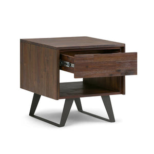 Lowry Solid Acacia End Table in Distressed Charcoal Brown