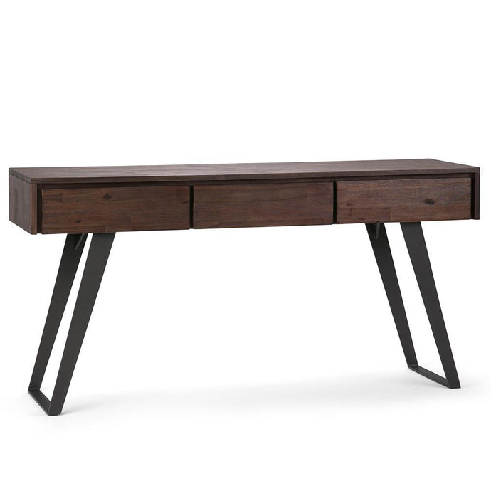 Lowry Solid Acacia Console Sofa Table in Distressed Charcoal Brown