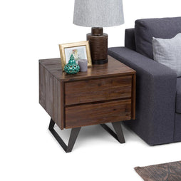 Lowry Solid Acacia Side Table in Distressed Charcoal Brown
