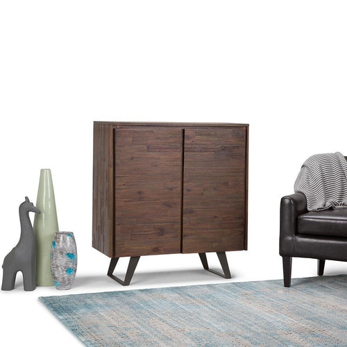 Lowry Solid Acacia Medium Storage Cabinet in Distressed Charcoal Brown