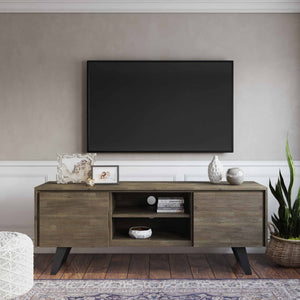 Distressed Grey | Lowry Solid Acacia Wood Wide TV Media Stand For TVs up to 70 Inches