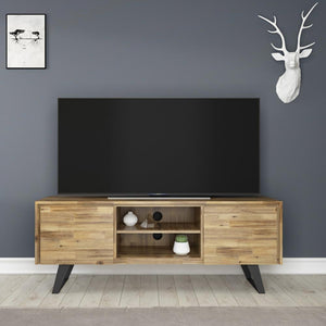 Distressed Golden Wheat | Lowry Solid Acacia Wood Wide TV Media Stand For TVs up to 70 Inches