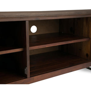 Distressed Charcoal Brown | Lowry Solid Acacia Wood Wide TV Media Stand For TVs up to 70 Inches