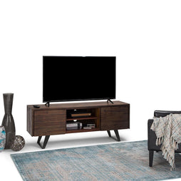 Lowry Solid Acacia TV Media Stand in Distressed Charcoal Brown