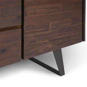 Lowry Solid Acacia Sideboard Buffet in Distressed Charcoal Brown