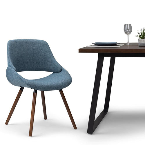 Denim Blue | Malden Bentwood Dining Chair in Grey Woven Fabric