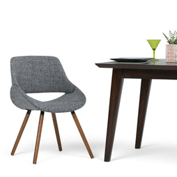 Grey | Malden Bentwood Dining Chair in Grey Woven Fabric