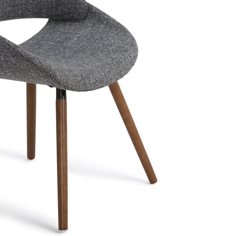 Natural and Grey | Malden Bentwood Dining Chair in Grey Woven Fabric