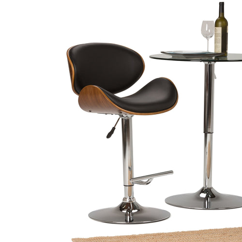 Black and Natural Faux Leather | Marana Bentwood Gas Lift Bar Stool