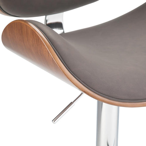 Distressed Brown Faux Leather | Marana Bentwood Gas Lift Bar Stool
