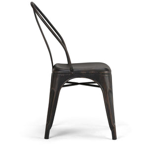 Distressed Black and Copper | Merritt Metal Dining Arm Chair