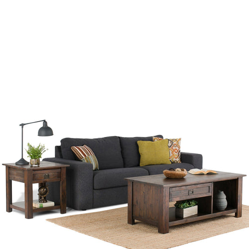Distressed Charcoal Brown | Monroe Rectangular Coffee Table