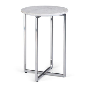 Marsden 18 in Wide Metal Accent Side Table with Chrome Base