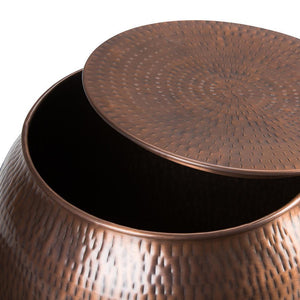 Griffen Metal Storage Accent Table in Antique Copper