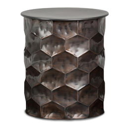 Whitney 17 inch Metal Storage Side Table in Antique Bronze