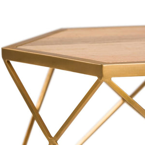 Kristy Metal/Wood Accent Table in Natural and Gold