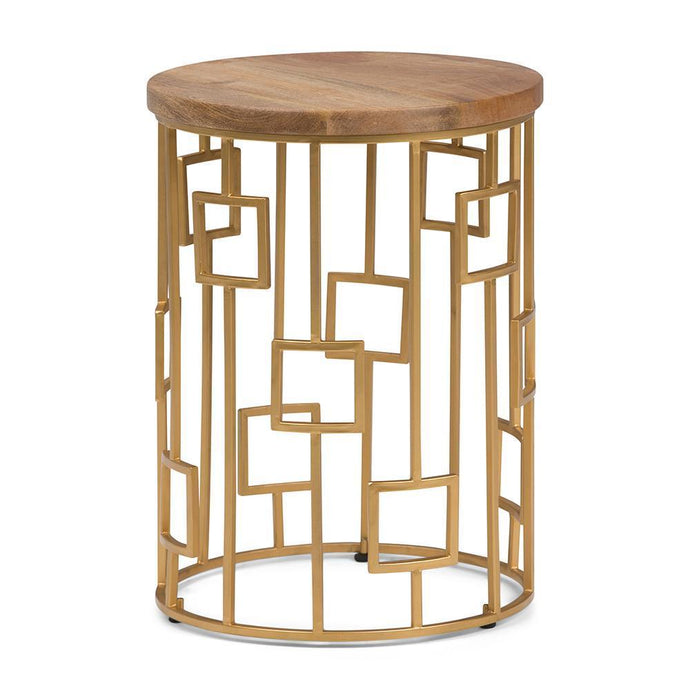 Rhys Metal/Wood Accent Table in Natural and Gold