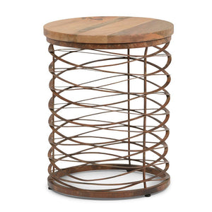 Miley Metal/Wood Accent Table in Natural and Distressed Bronze