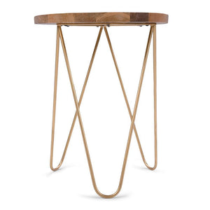Patrice Metal/Wood Accent Table in Natural and Gold