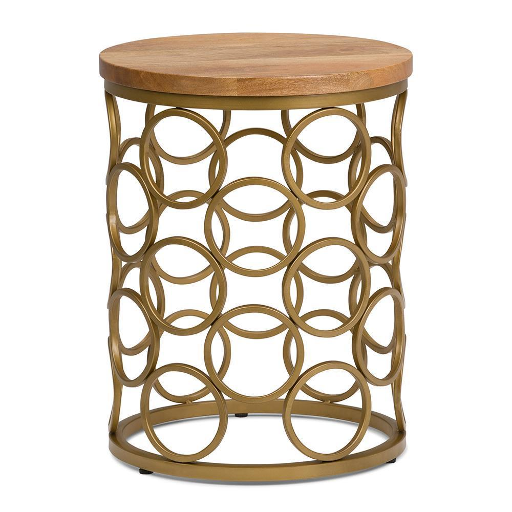Sadie Metal/Wood Accent Table in Natural and Gold