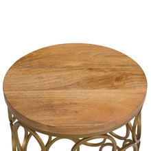 Load image into Gallery viewer, Sadie Metal/Wood Accent Table in Natural and Gold