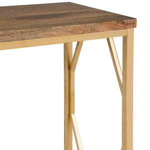 Selma Metal/Wood Accent Table in Natural and Gold